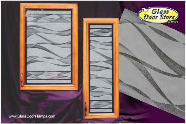 frosted or etched cabinet glass with wave pattern