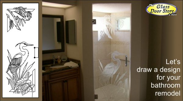 Etched Shower Door With Egret And Palm Leafs