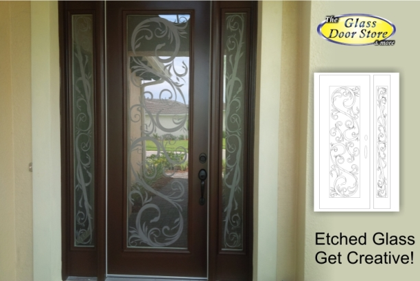 Etched Glass Front Door With Scroll Design