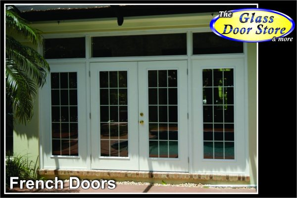 french doors in pool area with custom transom