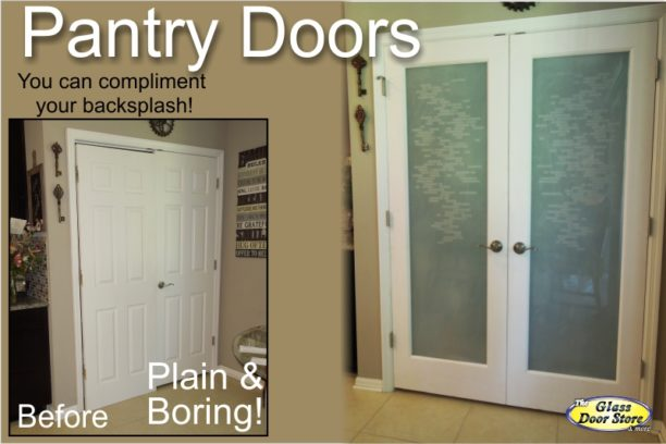 frosted double pantry doors with etched design