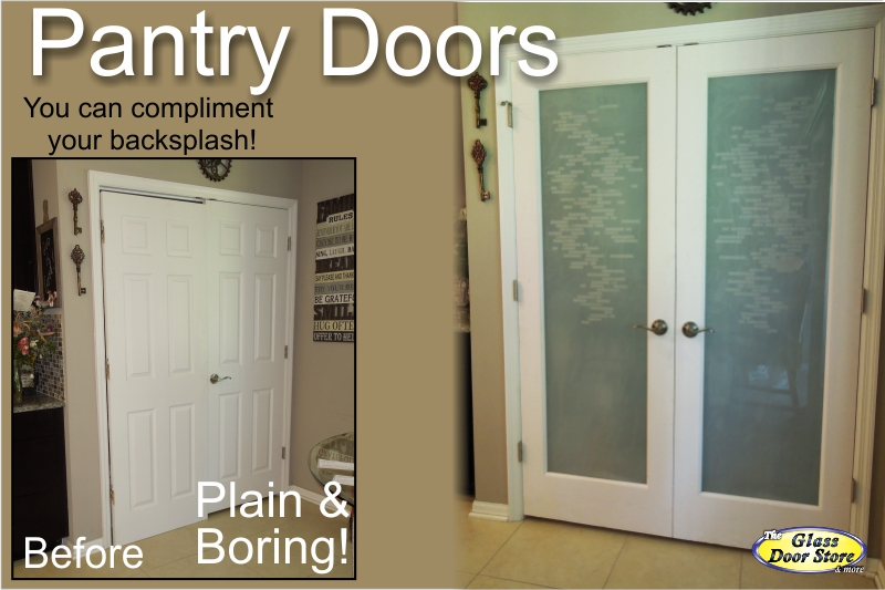 Frosted Double Pantry Doors With Etched Design The Glass
