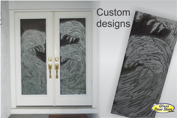 Etched Glass Doors With Aquatic Designs The Glass Door Store