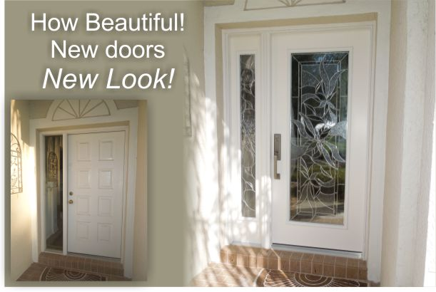 Fiberglass entry doors installed with modern glass insert
