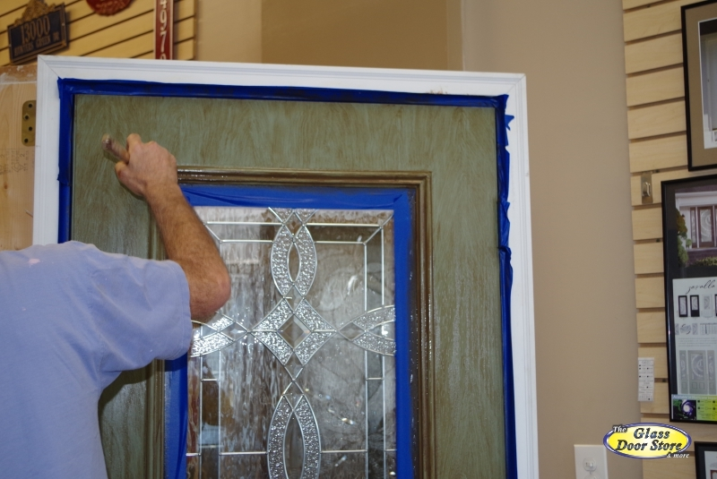 Faux painting a fiberglass door with color and woodgrain for Faux wood front doors