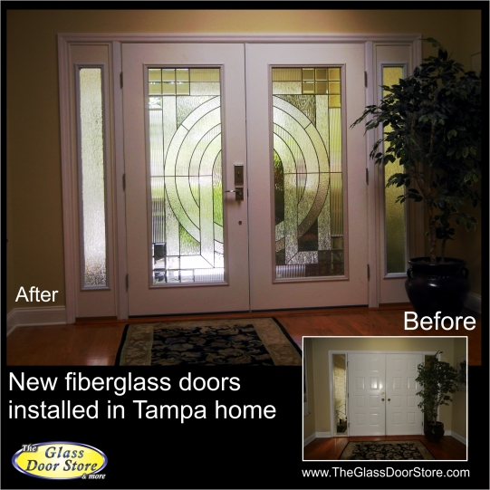 Double front doors with really pretty glass inserts update the front