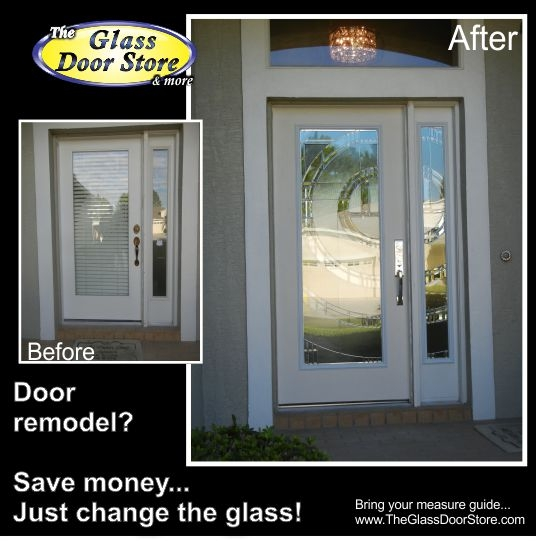 Replace glass in the fiberglass door or replace the door slab for Non sliding patio doors