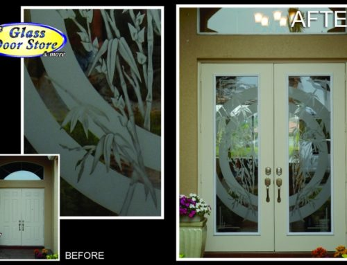 Etched glass doors with bamboo custom design