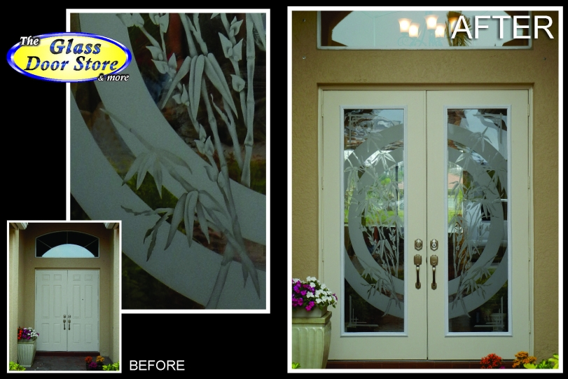 Etched Glass Doors With Bamboo Custom Design The Glass Door Store
