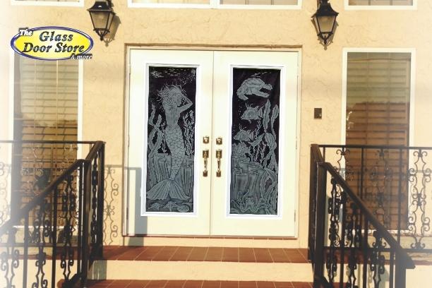 Mermaid Ellie Stephens in front double doors