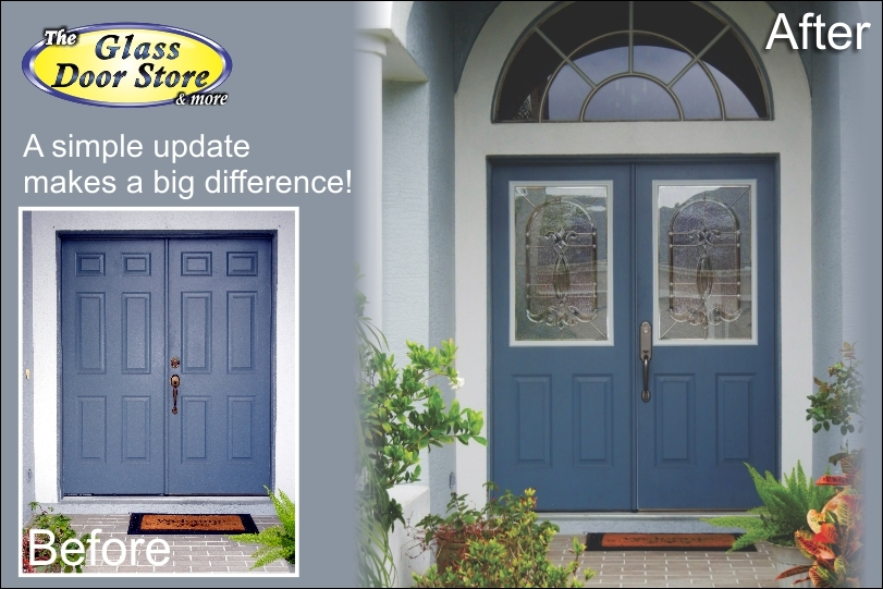 Half size cut out in metal front double doors