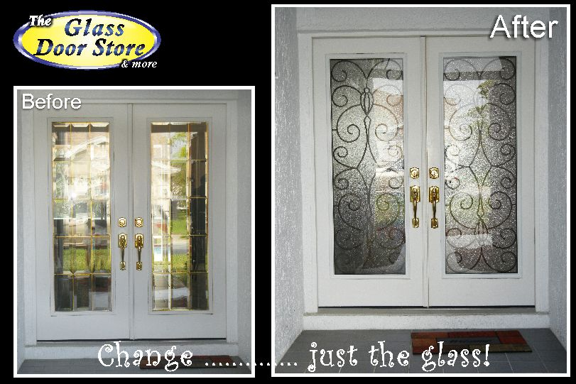 Wrought Iron between the glass for this double door in Odessa