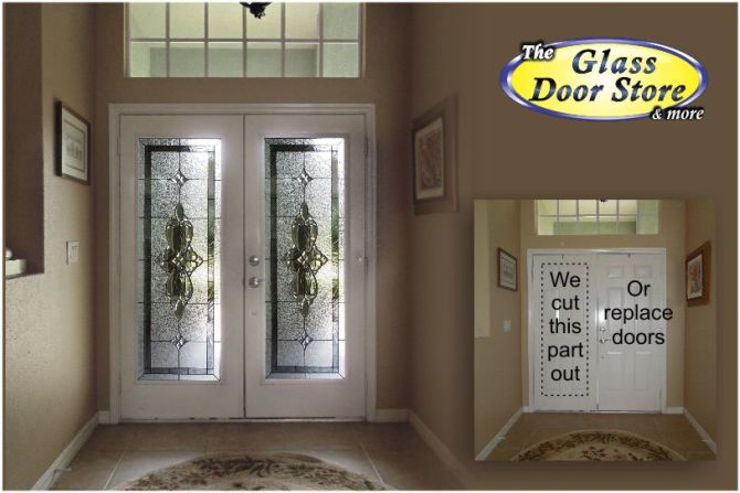 we cut these double front doors to add glass door inserts