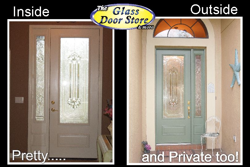 Single front door with glass insert partial size