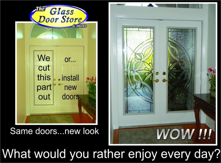 Change the plain glass door to a fancy glass door