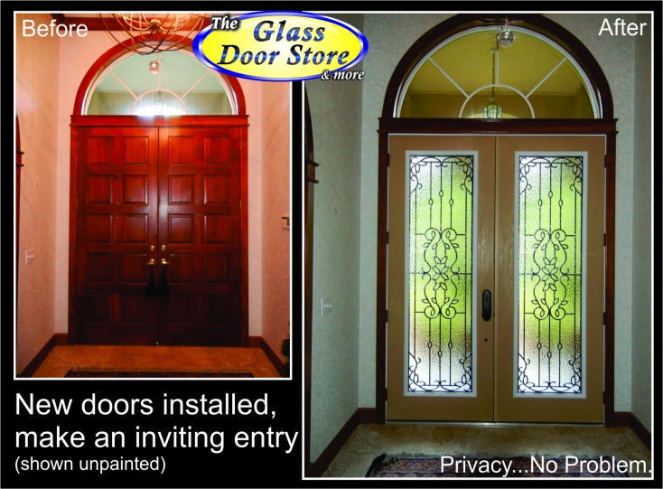 Mediterranean Wrought Iron glass door inserts in new front doors